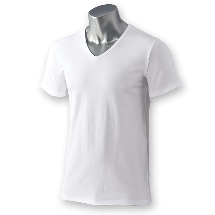 <HOT THERMO>綿が優しい暖かインナー Vネック半袖スタイル写真