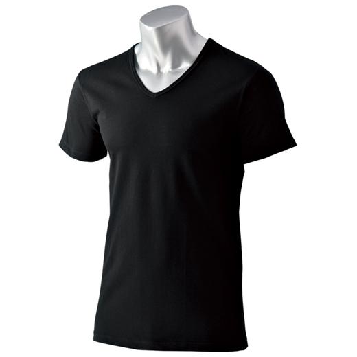 <HOT THERMO>綿が優しい暖かインナー Vネック半袖カラー写真01