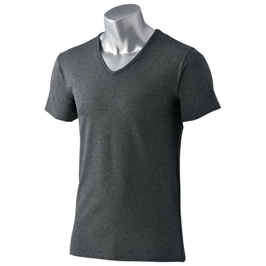 <HOT THERMO>綿が優しい暖かインナー Vネック半袖カラー写真03