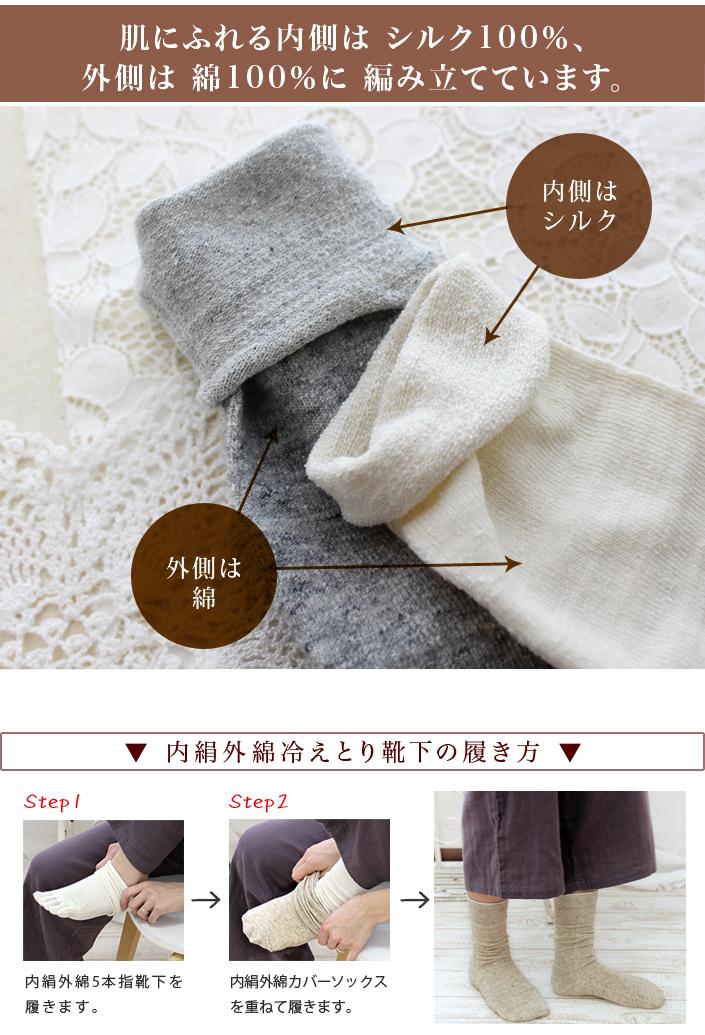 日本製 冷えとり靴下 内絹外綿 ソックス 2足セット5本指+カバーソックスカラー写真01