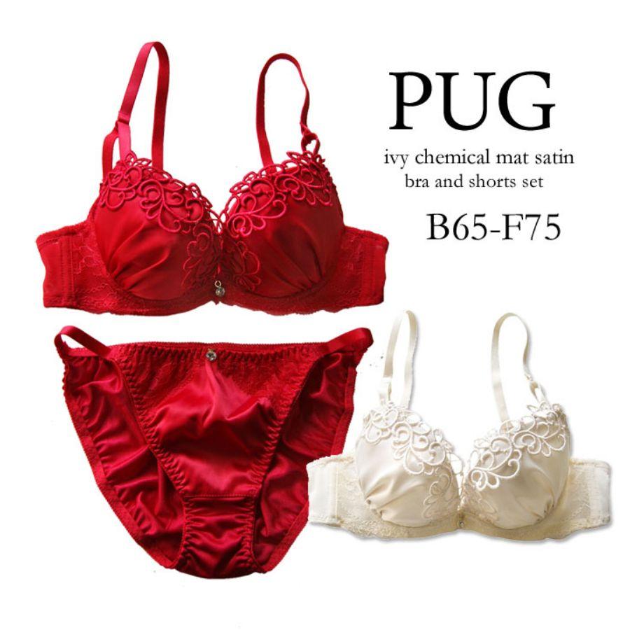 PUG/パグ アイビーケミカルマットサテンブラ&ショーツセットスタイル写真