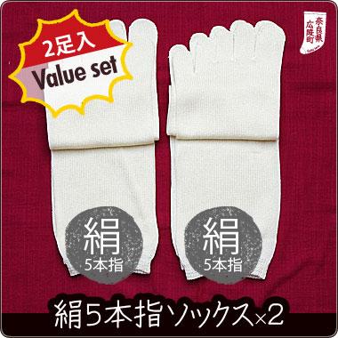 【冷え取り靴下 2足バリューセット】絹5本指ソックススタイル写真