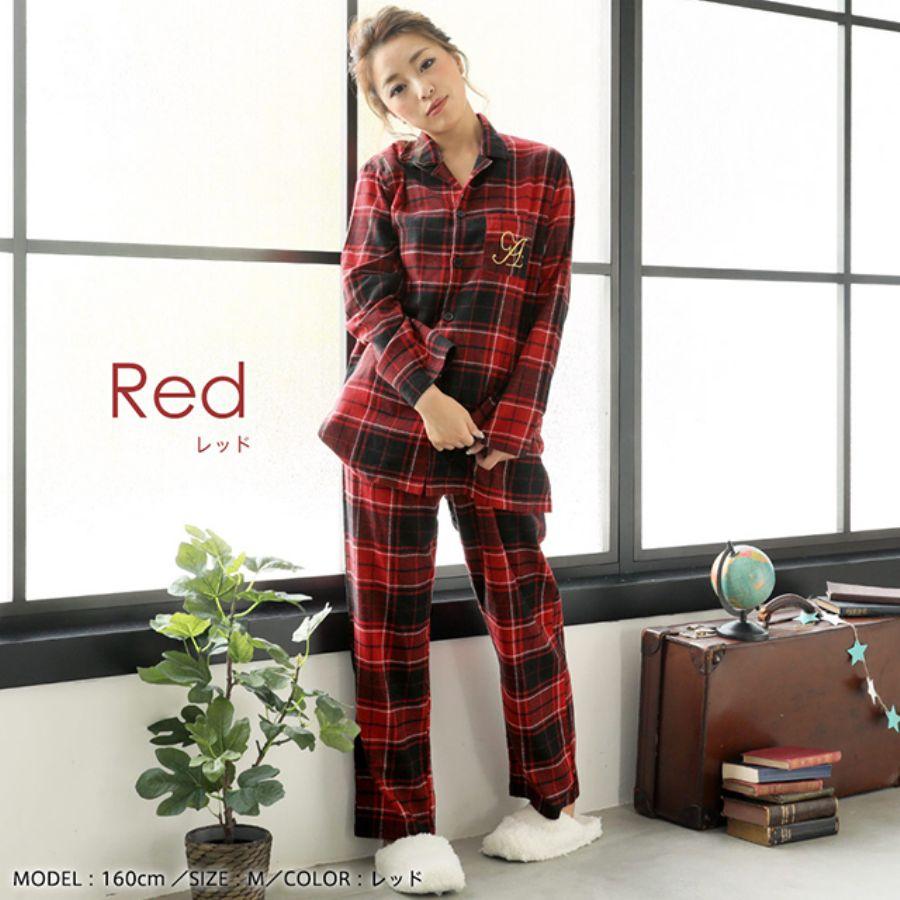 ネルシャツ パジャマ 上下セット(男女兼用サイズ)(カラー写真01