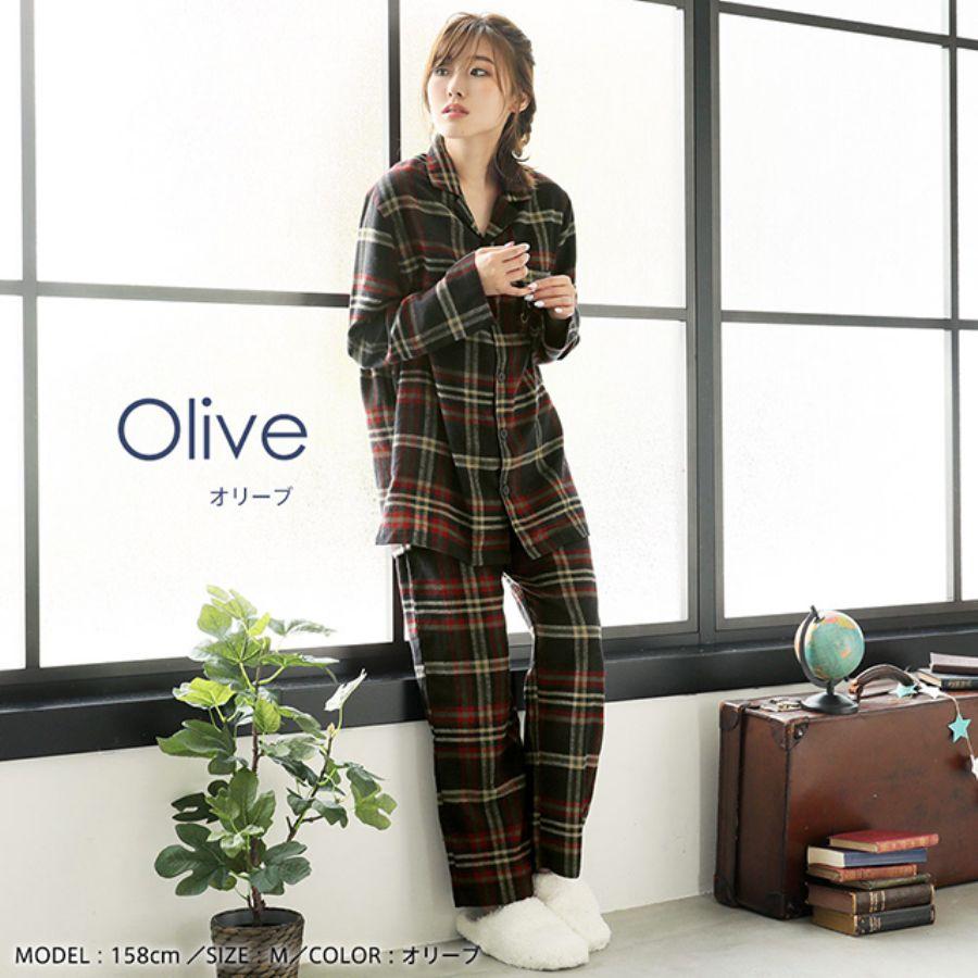 ネルシャツ パジャマ 上下セット(男女兼用サイズ)(カラー写真02