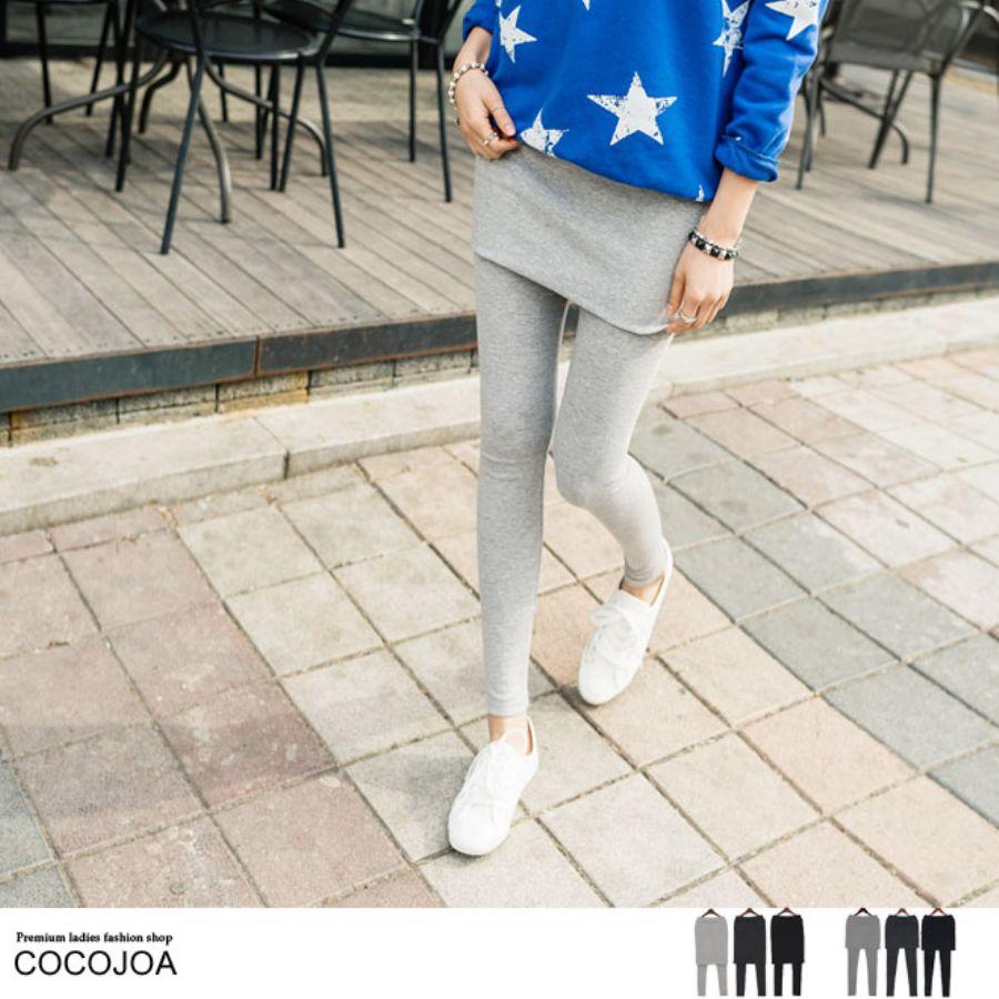 素材2タイプ選べる3カラースカート付きレギンススタイル写真