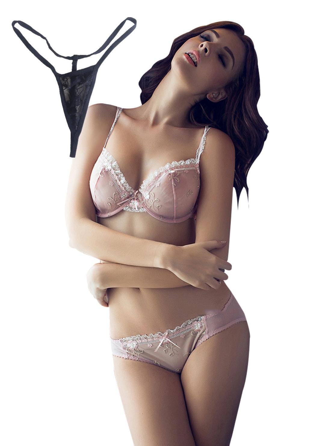ブラ&ショーツ 下着 刺繍 花柄 透ける 3/4カップスタイル写真