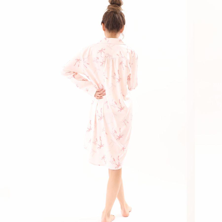 リボン柄サテンシャツワンピースカラー写真04