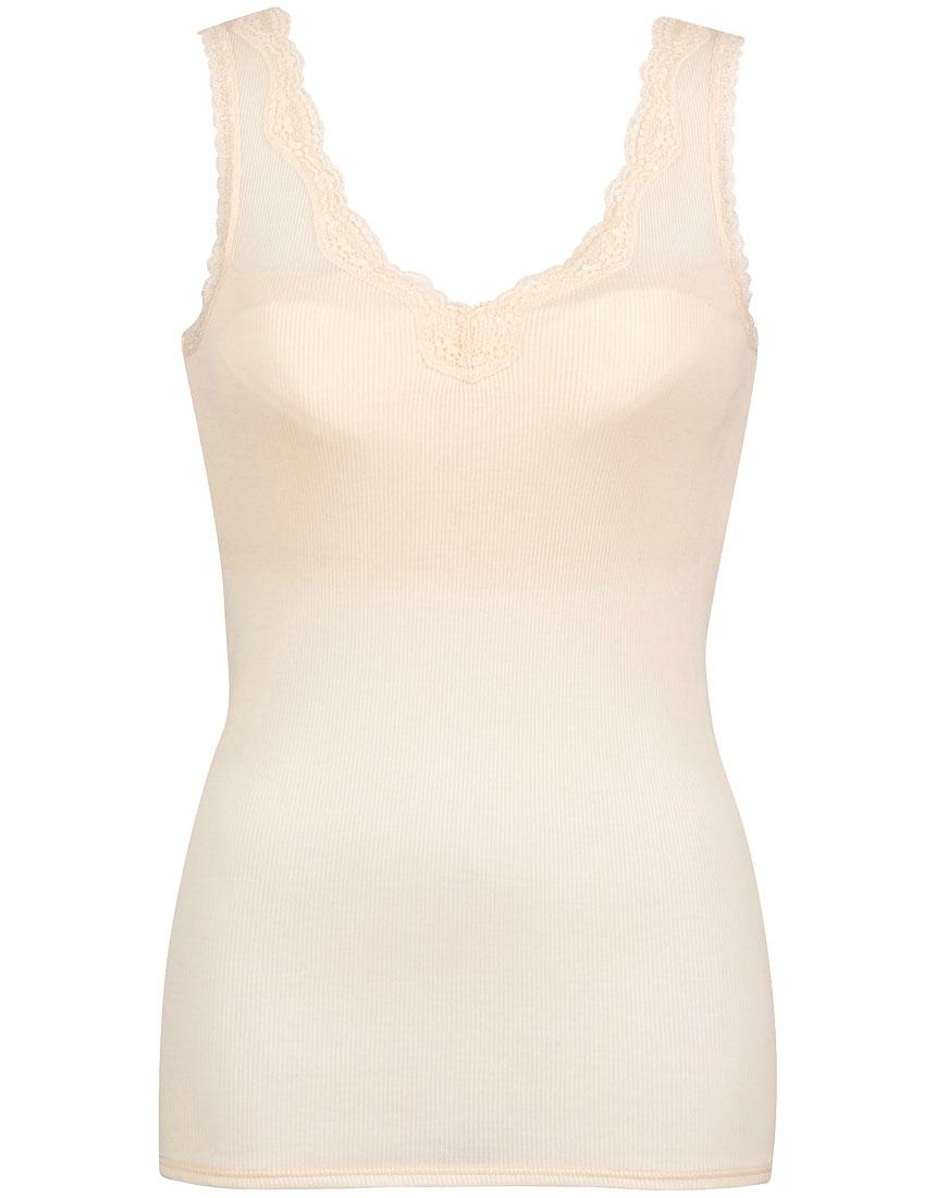 綿100%リブ編みタイプ Vネック ノースリーブ(汗取り付)スタイル写真