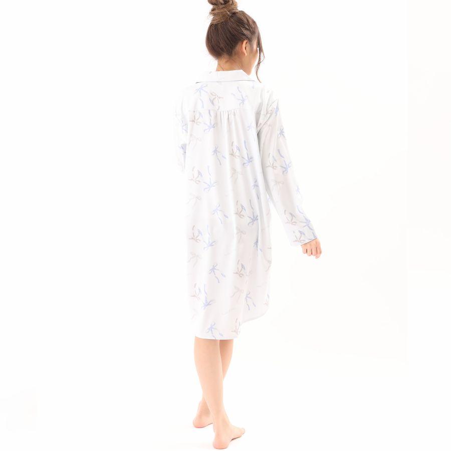 リボン柄サテンシャツワンピースカラー写真02