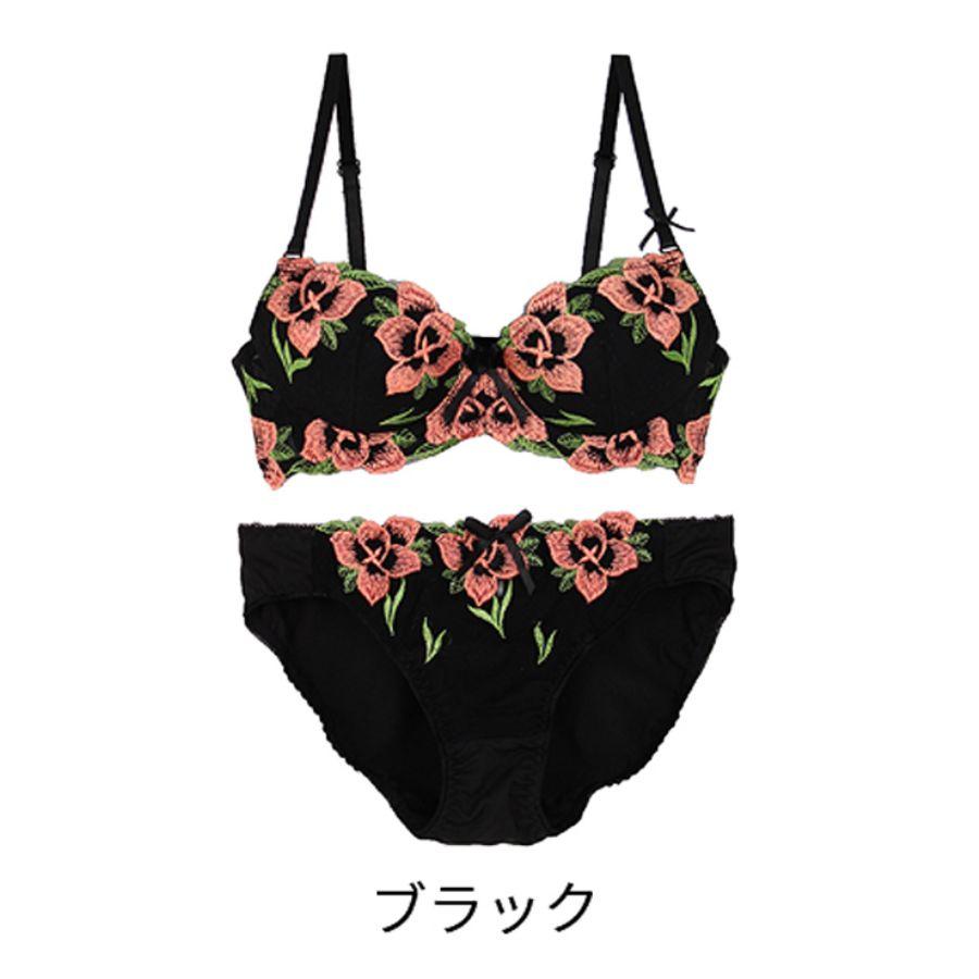 エレガントな大人花刺繍ブラジャーショーツセットカラー写真04