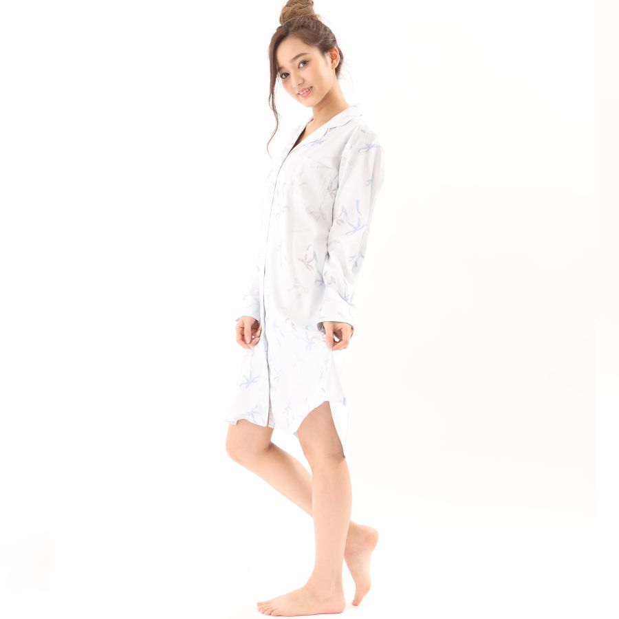 リボン柄サテンシャツワンピースカラー写真01