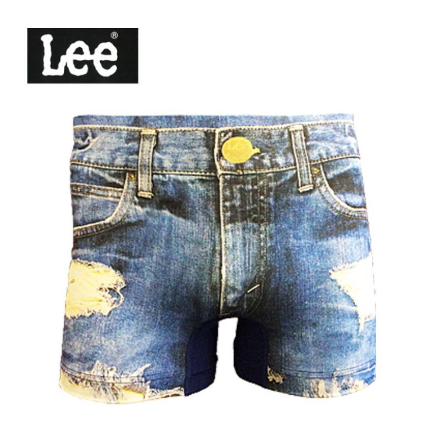 LEE リー メンズ 前閉じ 転写プリント クラッシュデニム 250:ウォッシュネイビースタイル写真