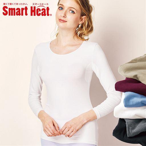 スマートヒート® 汗取りパッド付き8分袖インナー(衿元あったか 衿ぐり狭めタイプ)スタイル写真