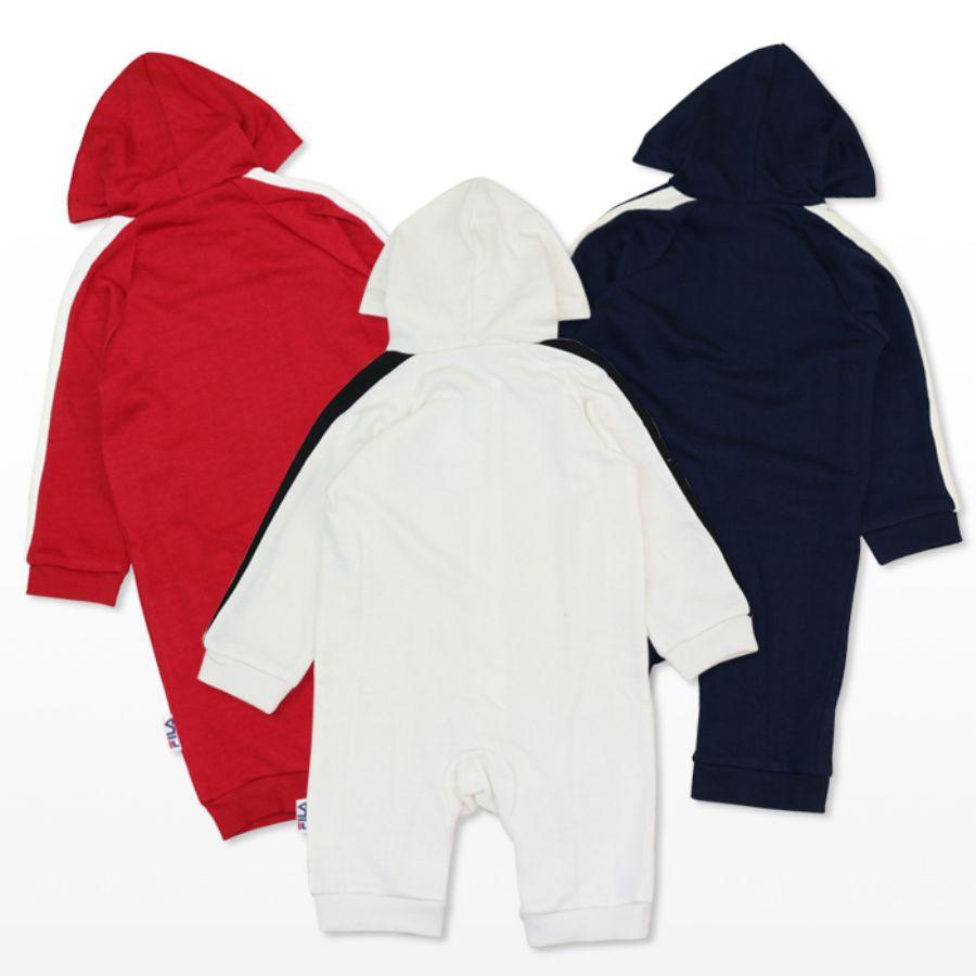 袖のラインとフロッキープリントのFロゴがキュートな長袖カバーオールカラー写真01