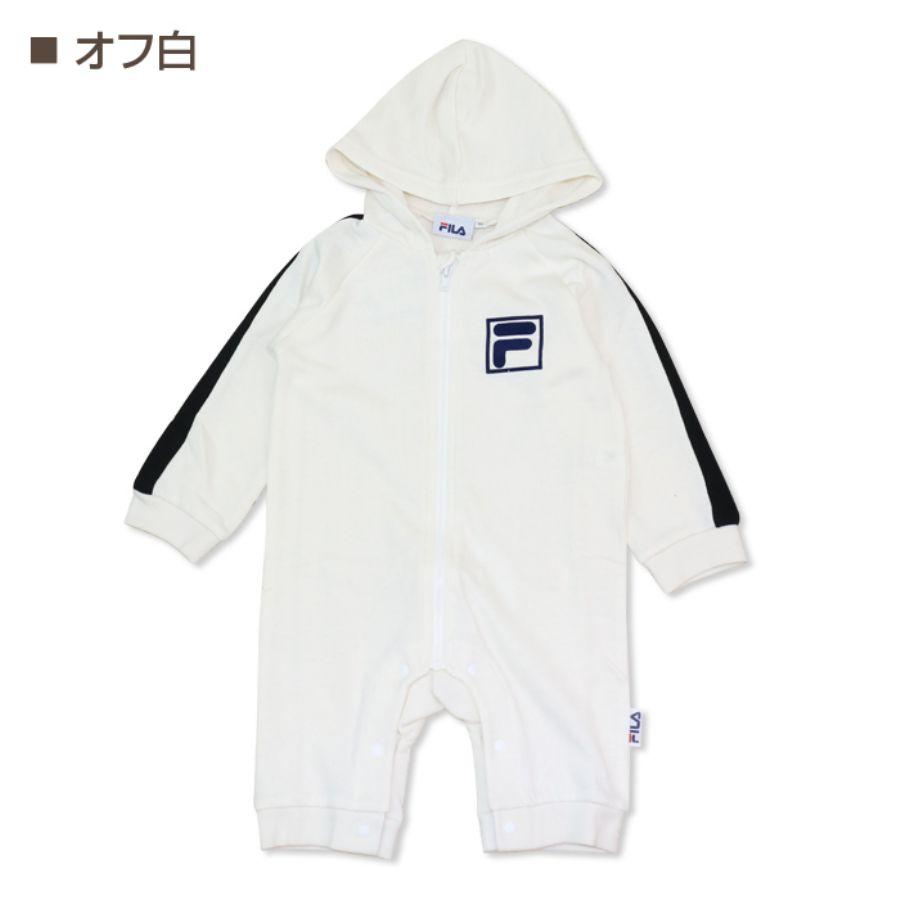 袖のラインとフロッキープリントのFロゴがキュートな長袖カバーオールカラー写真02