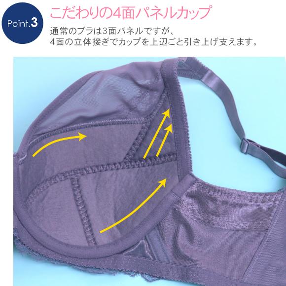 E70-H90 バストが揺れにくい 大きい胸をすっきり見せる 脇高ブラ 丸胸カップ 補正 単品ブラジャーカラー写真03