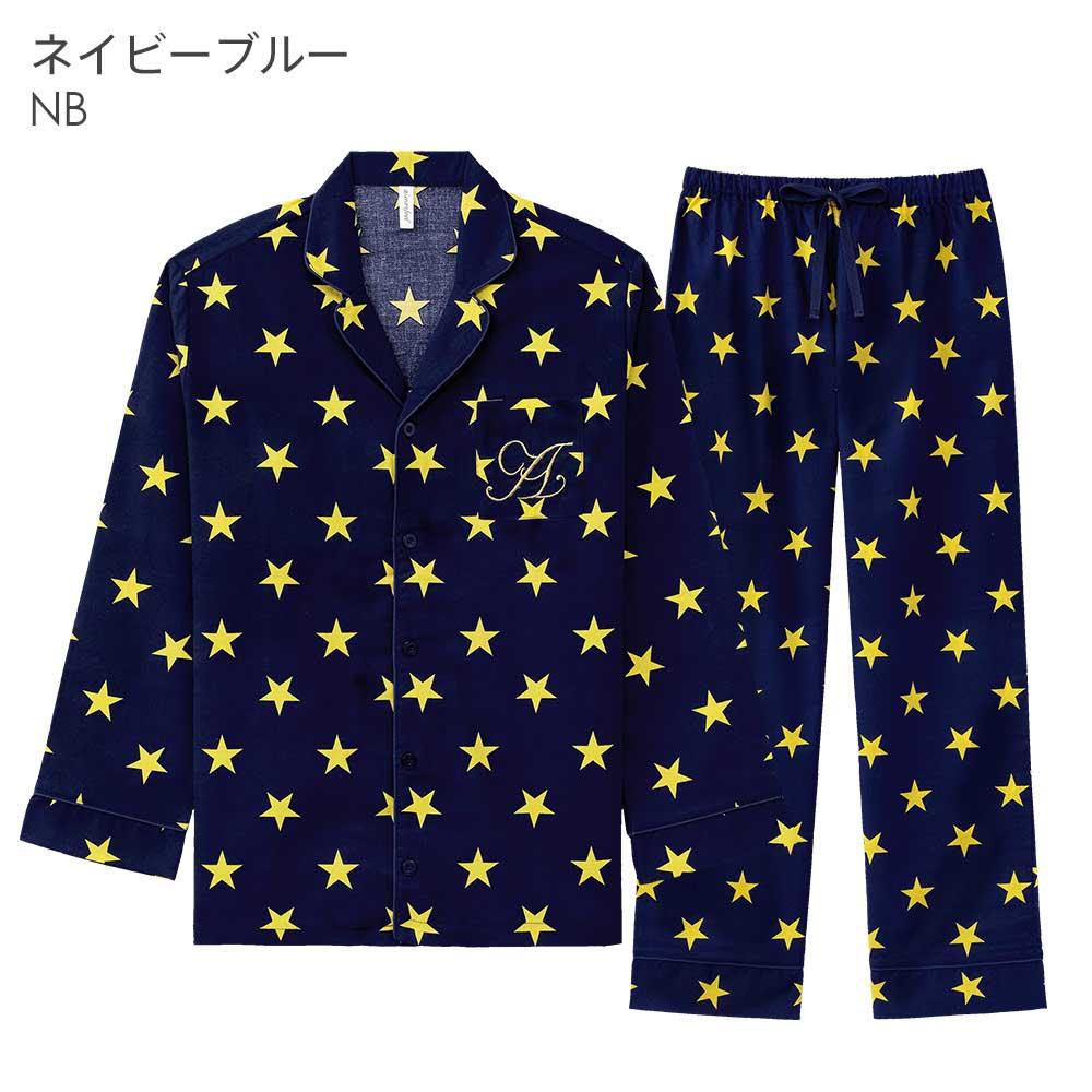 ペア 長袖 シャツパジャマ 上下セット(男女兼用)その他の写真01