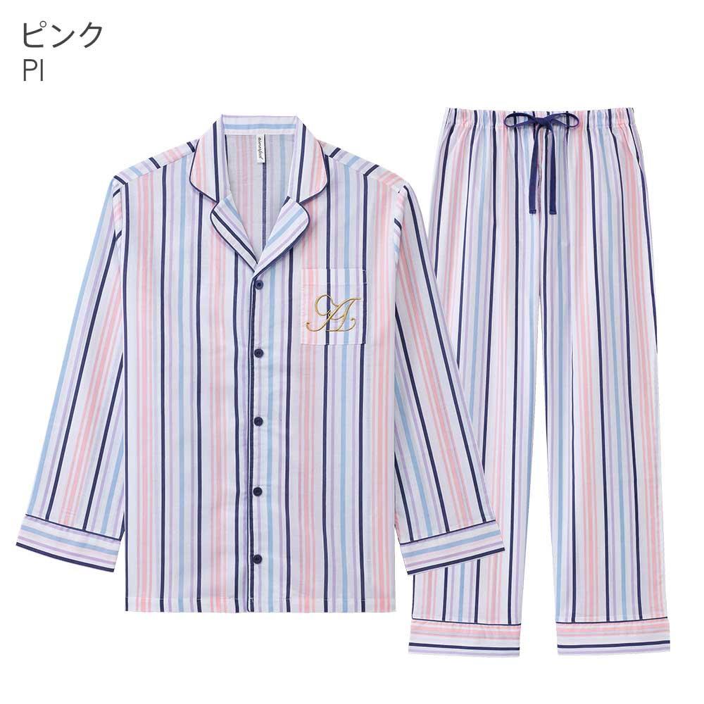 ペア 長袖 シャツパジャマ 上下セット(男女兼用)カラー写真02