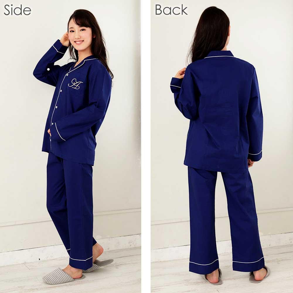 ペア 長袖 シャツパジャマ 上下セット(男女兼用)カラー写真01