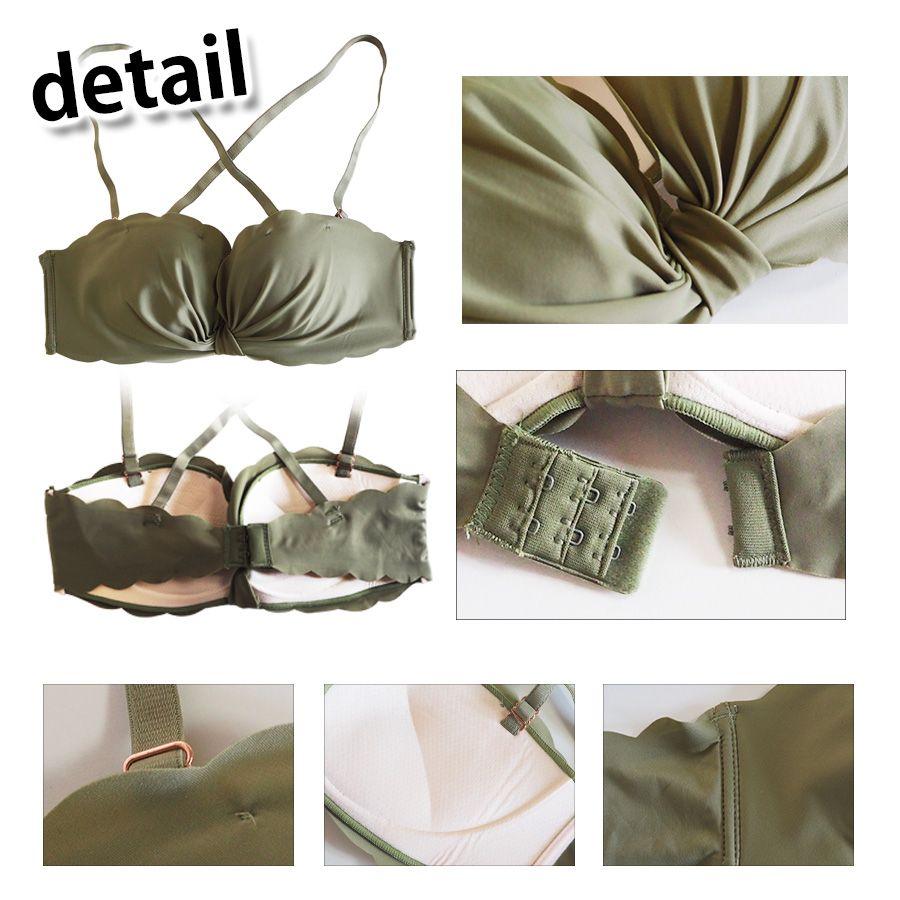 リボン風 ノンワイヤー 美胸 超薄生地軽量設計 ブラショーツセットカラー写真01