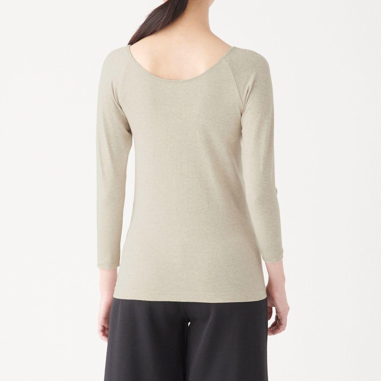 綿であったかVネック八分袖Tシャツカラー写真01