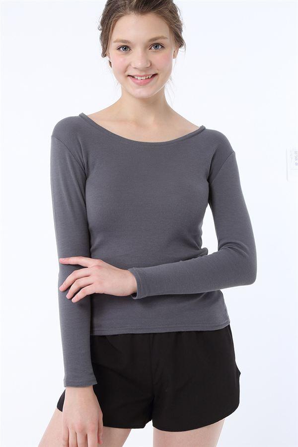 tutuHEAT綿素材丸首長袖スタイル写真
