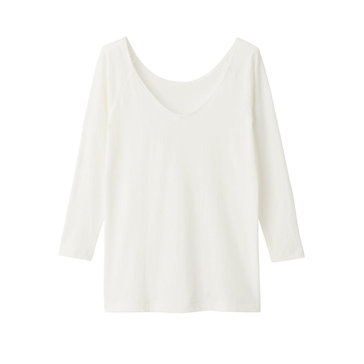 綿であったかVネック八分袖Tシャツカラー写真02