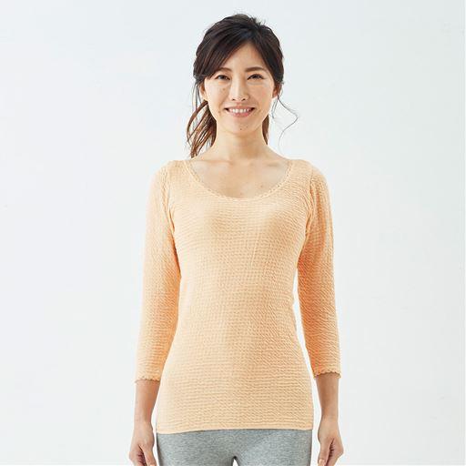 8分袖(衿ぐり広め)(日本製 リップルインナー)スタイル写真