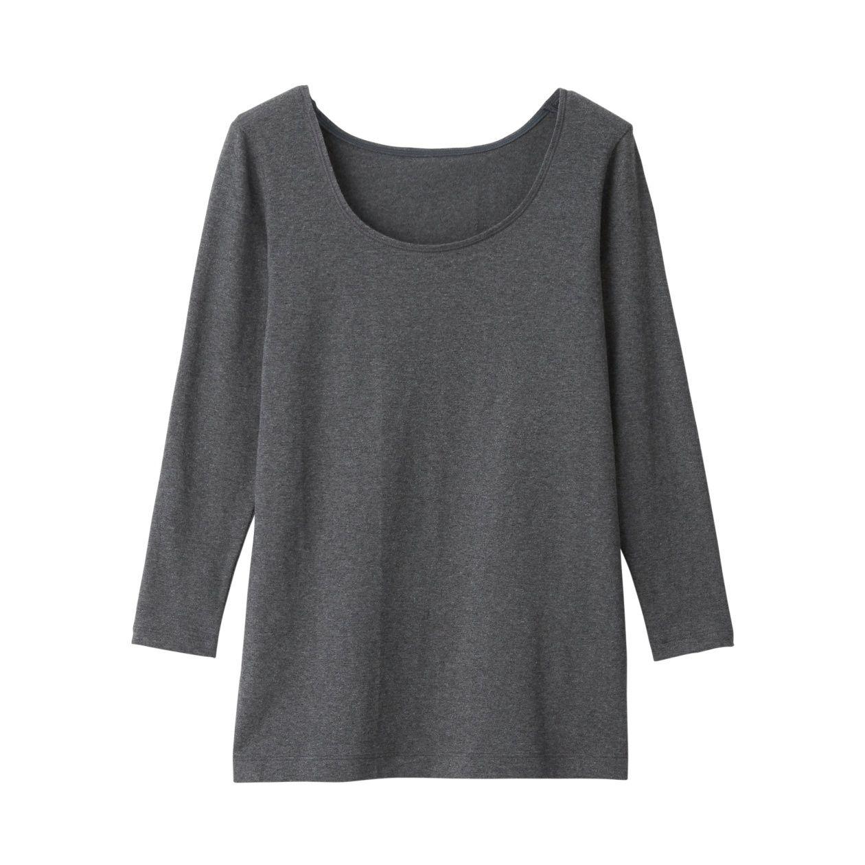 綿であったかUネック八分袖Tシャツカラー写真04