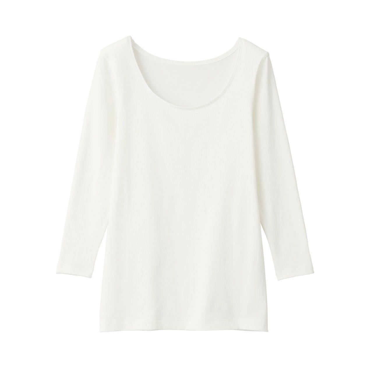 綿であったかUネック八分袖Tシャツカラー写真02
