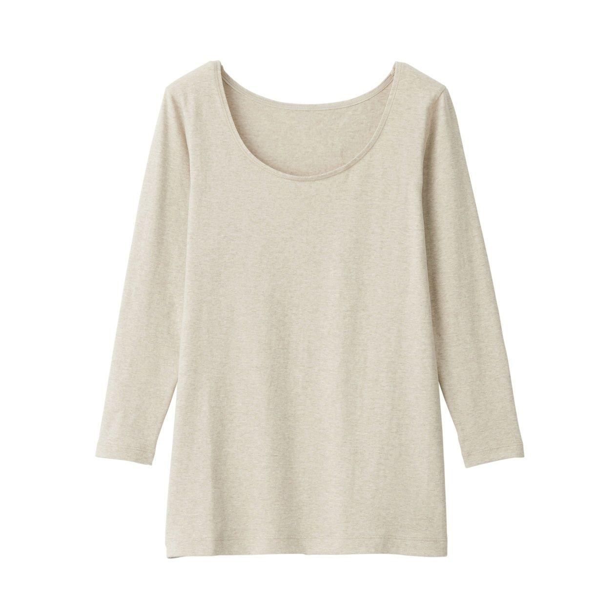綿であったかUネック八分袖Tシャツカラー写真03