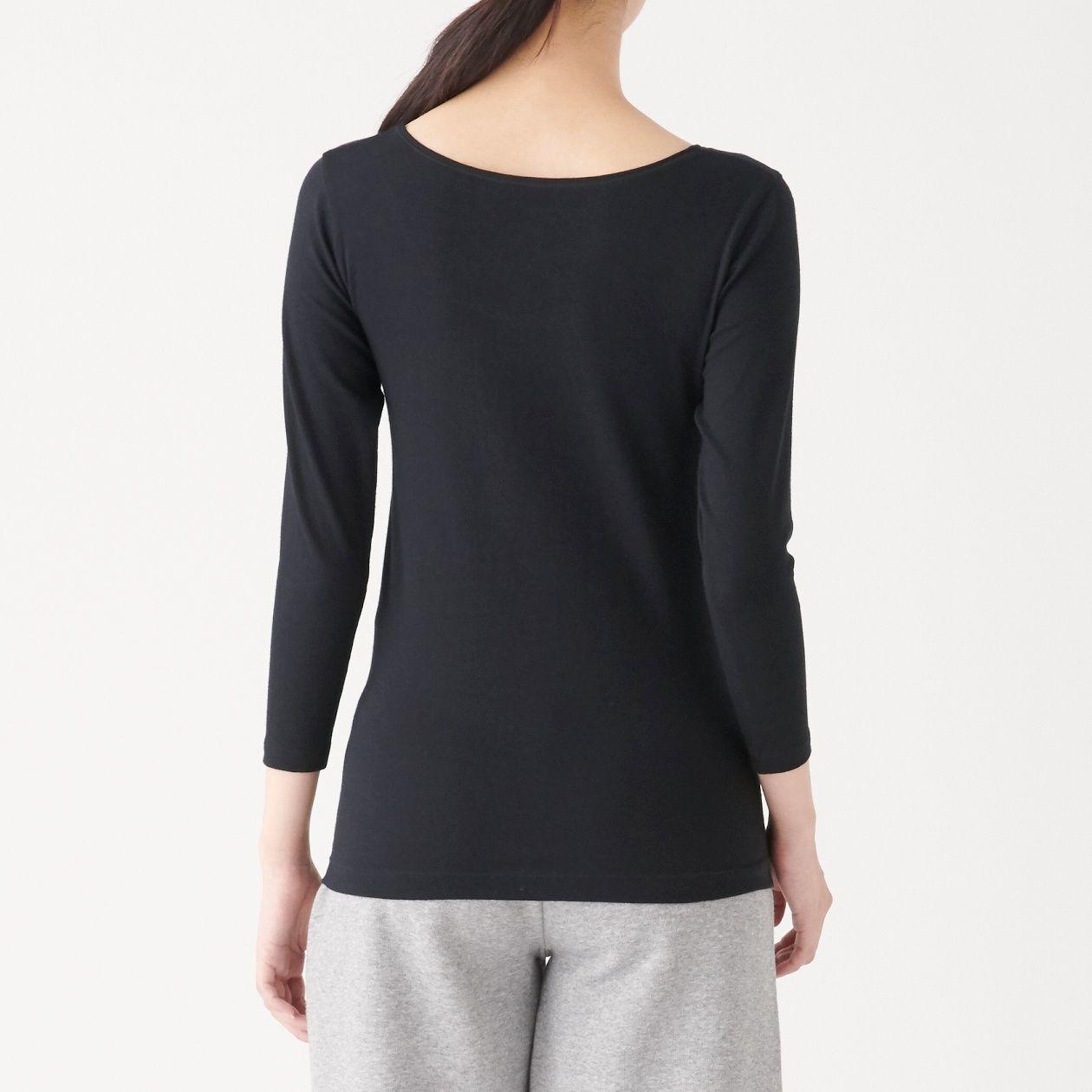 綿であったかUネック八分袖Tシャツカラー写真01