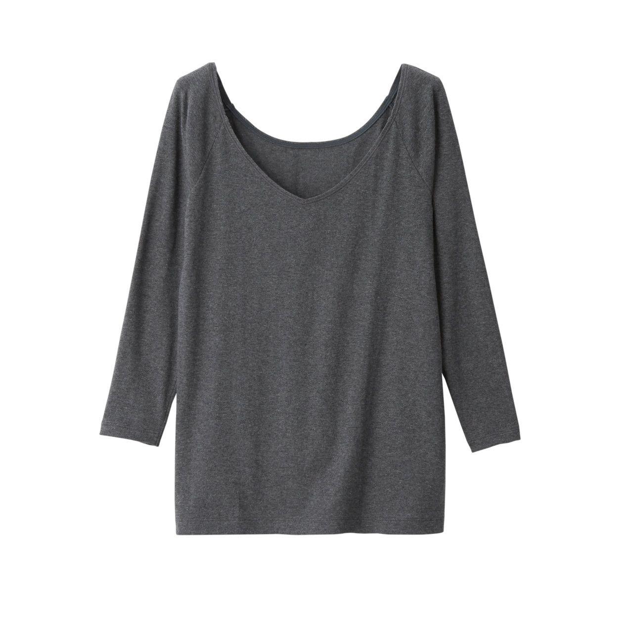 綿であったかVネック八分袖Tシャツカラー写真03