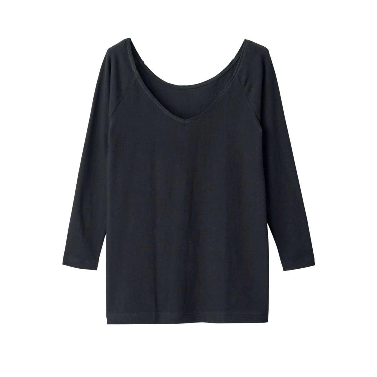 綿であったかVネック八分袖Tシャツカラー写真04