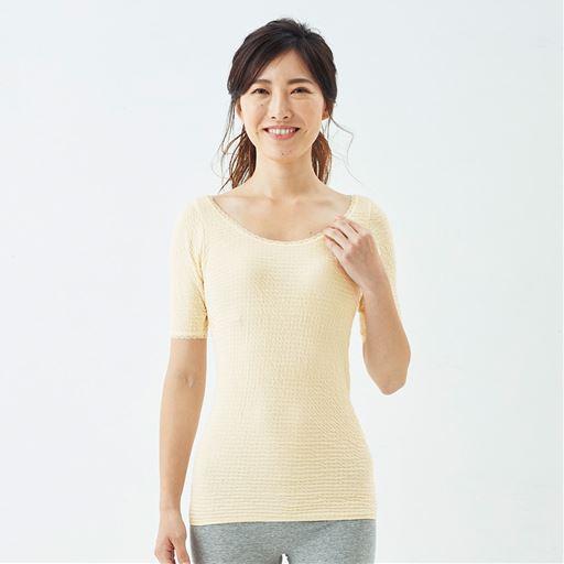 5分袖(衿ぐり広め)(日本製 リップルインナー)スタイル写真