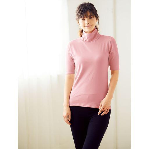 スマートヒート® タートルネック5分袖(発熱するコットン ぬく綿)スタイル写真