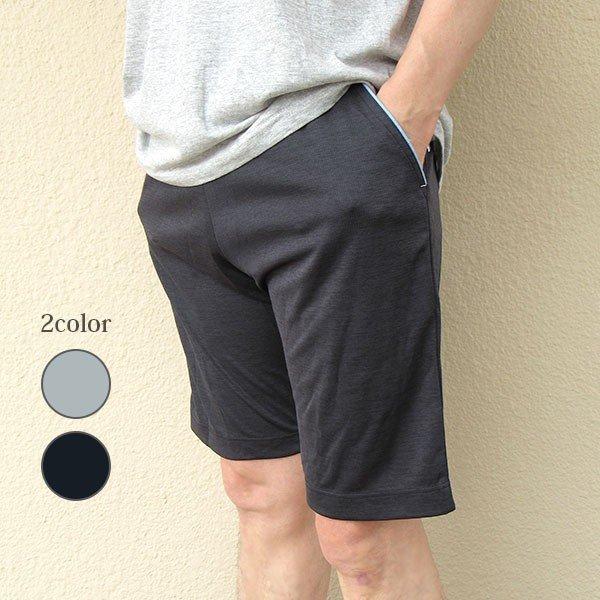 メンズ ハーフパンツ吸水速乾 2色 杢グレー ブラック 膝丈 夏 スポーツスタイル写真