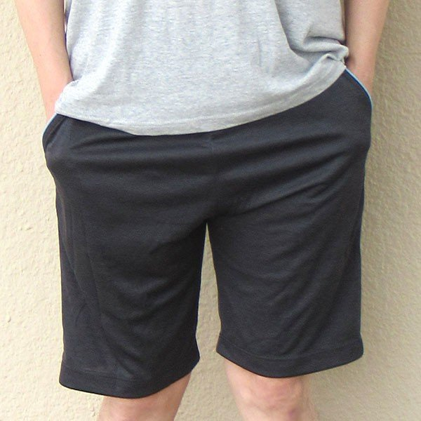 メンズ ハーフパンツ吸水速乾 2色 杢グレー ブラック 膝丈 夏 スポーツカラー写真01