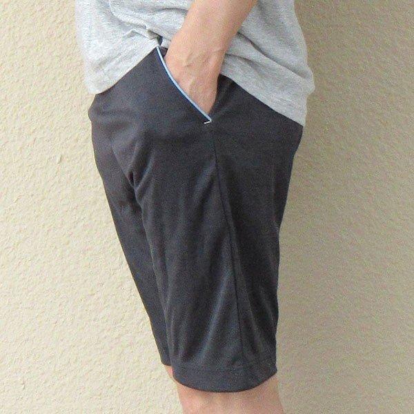 メンズ ハーフパンツ吸水速乾 2色 杢グレー ブラック 膝丈 夏 スポーツカラー写真02