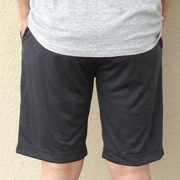 メンズ ハーフパンツ吸水速乾 2色 杢グレー ブラック 膝丈 夏 スポーツカラー写真03