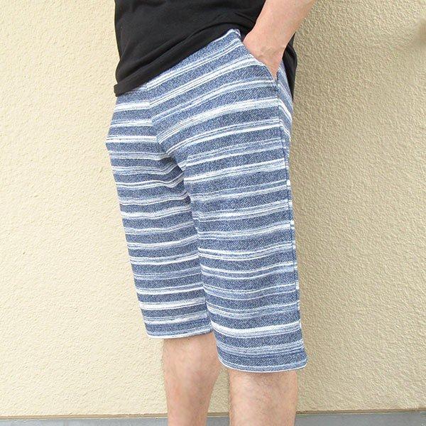 メンズ ハーフパンツ ボーダー 2色 チャコール ネイビー 膝下 夏 素材 良品カラー写真02