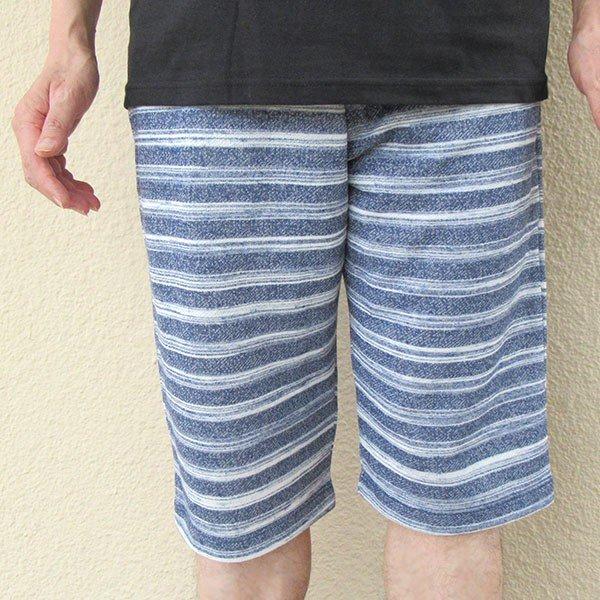 メンズ ハーフパンツ ボーダー 2色 チャコール ネイビー 膝下 夏 素材 良品カラー写真01