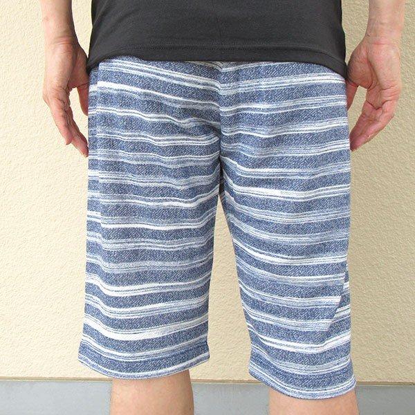 メンズ ハーフパンツ ボーダー 2色 チャコール ネイビー 膝下 夏 素材 良品カラー写真03