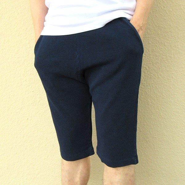 メンズ ハーフパンツ インディゴ染め 2色 ブルー ネイビー 膝下 夏 おしゃれカラー写真01