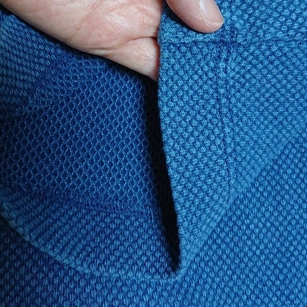 メンズ ハーフパンツ インディゴ染め 2色 ブルー ネイビー 膝下 夏 おしゃれカラー写真03