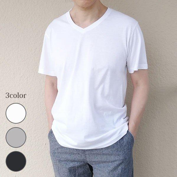 メンズ 半袖 Tシャツ 綿100% 天竺 V首 Vネックスタイル写真